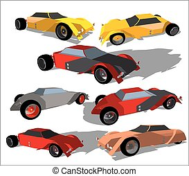 Vector image of a super car in various colors and from...
