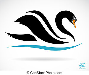 Vector image of a swan on a black background