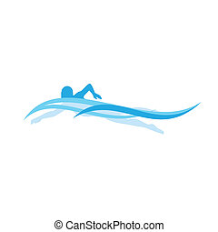 Swimmer - Vector Image of a Swimmer in Stylized Waves