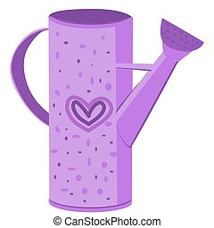 vector image of a tall garden watering can in purple tones