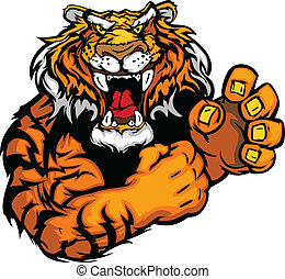 Vector Image of a Tiger Mascot - Tiger Fighting Mascot Body...