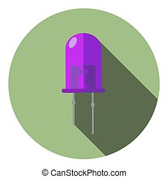 Vector image of a violet light-emitting diode on a round...