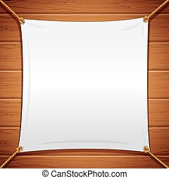 Vector image of a white banner with ropes
