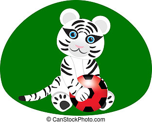 Vector image of a white tiger with