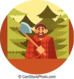 Woodcutter in the forest