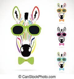 Vector image of a zebra wear glasses on white background.
