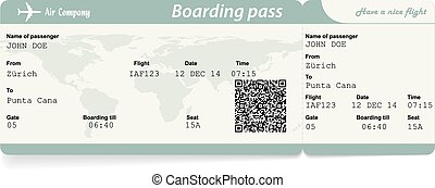 Vector image of airline boarding pass ticket with