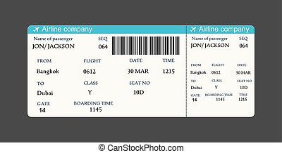 Vector image of airline boarding pass ticket with QR2 code