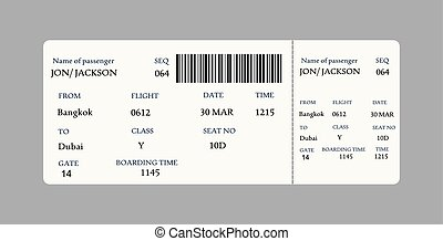 Vector image of airline boarding pass ticket with QR2 code.
