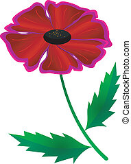 Vector image of an abstract red flower