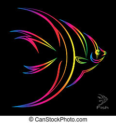 Vector image of an angel fish on black background