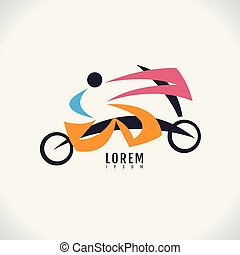 Vector image of an Bike human design on white background. sport, logo, symbol, icon, abstract