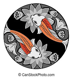 Vector image of an carp koi - Vector fishes