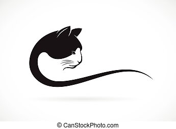 Vector image of an cat face design on white background, Vector cat head for your design