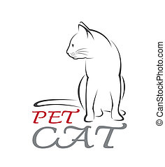 Vector image of an cat on white background.