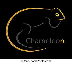 Vector image of an chameleon on black  background