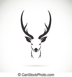 Vector image of an deer head design on white background, Vector deer head for your design.