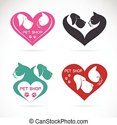 Vector image of an Dog and cat with heart