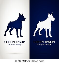 Vector image of an dog design on white background and blue background, Logo, Symbol