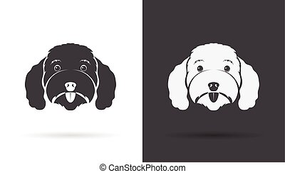 Vector image of an dog poodle face on white background and black background