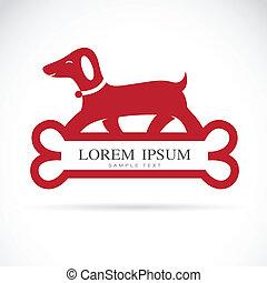Vector image of an dog standing on bones