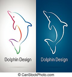 Vector image of an dolphin design on white background and blue background, Logo, Symbol