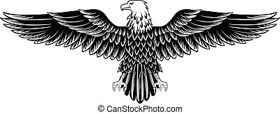 Vector image of an eagle with the straightened wings
