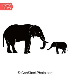Vector image of an elephant design on white background, Vector elephant Icon for your design.