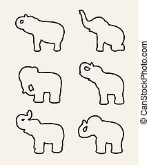 Vector image of an elephant on white background.