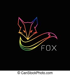 Vector image of an fox design on black background