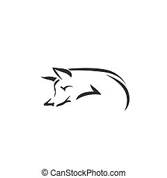 Vector image of an fox on white background