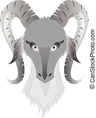 Vector image of an goats head on white background