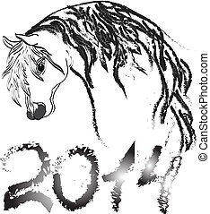 Vector image of an horse on white background. New Year 2014