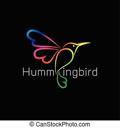 Vector image of an hummingbird design on black background