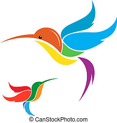 Vector image of an hummingbird on white background