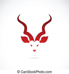 Vector image of an kudu antelope horns on white background