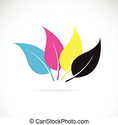 Vector image of an leaves in cmyk colors