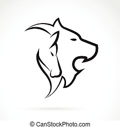 Vector image of an lion head and horse head on white background.