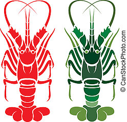 Vector image of an lobster on white background