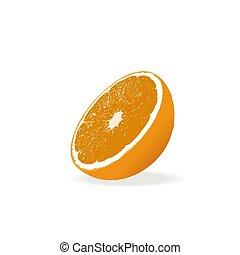 Vector image of an orange cut in half