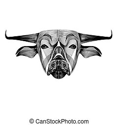 Vector image of an outline cow on white background