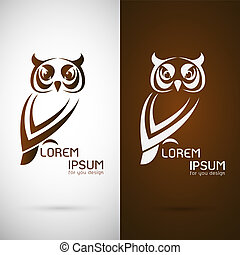 Vector image of an owl design on white background and brown...