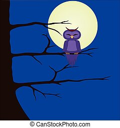 Vector Image of an owl that sits on a branch  Night landscape