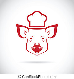 Vector image of an Pig chef on white background