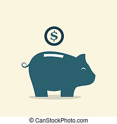 Vector image of an piggy bank