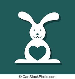 Vector image of an rabbit design and heart on white background