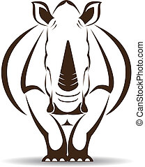 Vector image of an rhino on white background