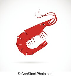 Vector image of an shrimp design on white background