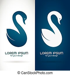 Vector image of an swan design on white background and blue background, Logo, Symbol