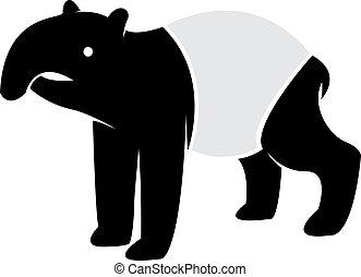 Vector image of an tapir